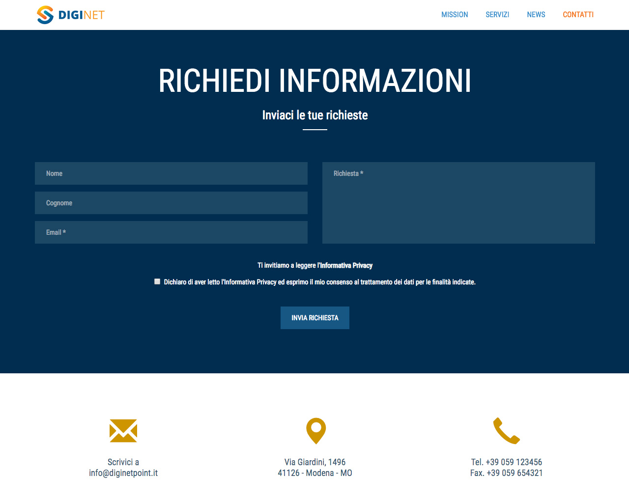 One Site - Form di contatto su PC